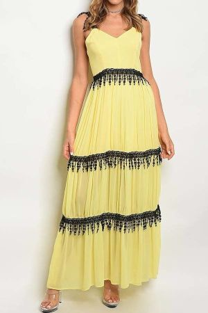 V neck crochet maxi dress
