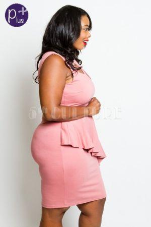 Plus Size Classy Cross Strap Asymmetrical Peplum Tube Dress