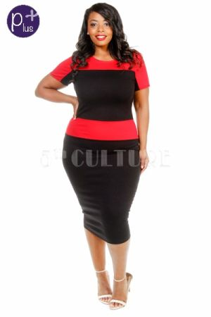 Plus size contrast short sleeved casual dress
