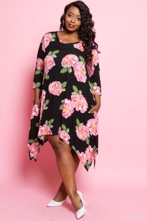 Plus size short sleeve mini dress