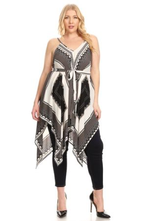 Plus size sleeveless long top