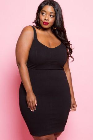 Plus size sleeveless mini black dress