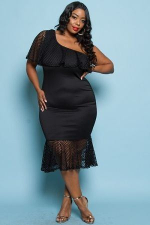Plus size one cold shoulder fitted midi dress