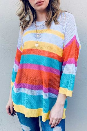 Multi Striped Mesh Pullover Spring Sweater