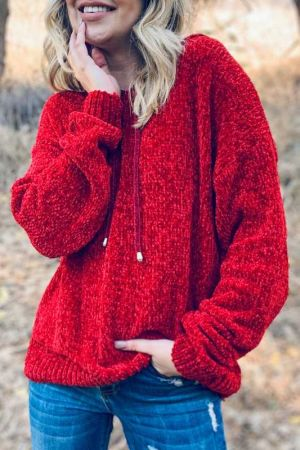 Solid Color Cozy Knit Hoodie Sweater