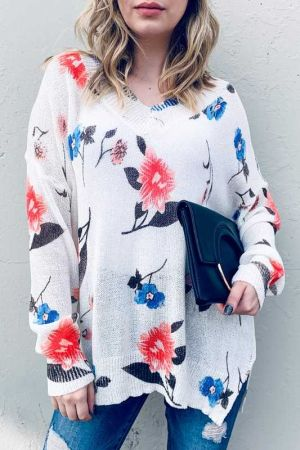 Floral Printed Spring Pullover Loose Fit Sweater
