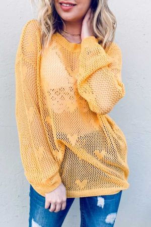 Heart Sheer Mesh Pullover Spring Sweater Top