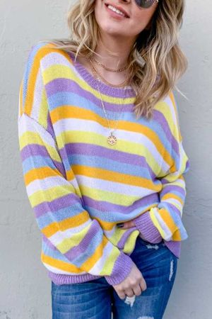 Multi Striped Mesh Pullover Sweater