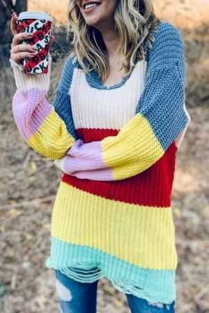 Rainbow Color Block Distressed Knit Pullover Tunic Sweater