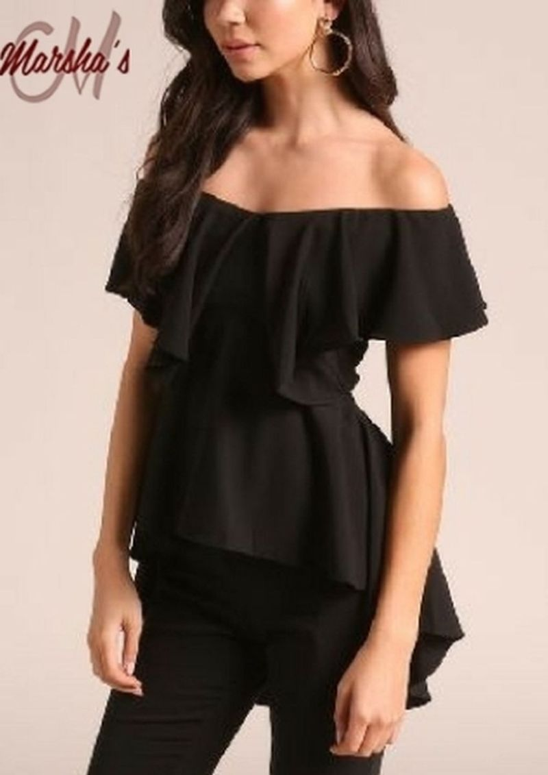 Layered Off Shoulder Peplum Blouse