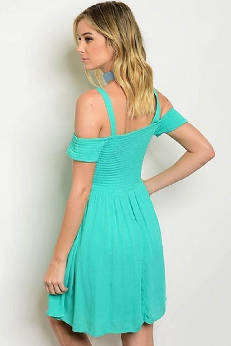 spearmint off shoulder dress