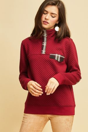 Quilted high collared pullover sweater