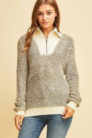 Terry clothed zipped sweater