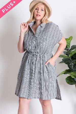 PLUS SIZE STRIPED SHORT SLEEVE SHIRT DRESS