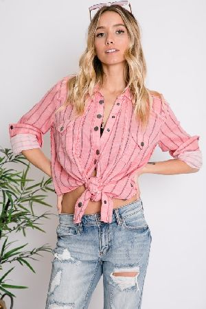 Rustic striped western shirt top