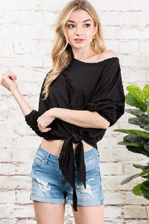 Tie front solid crop top