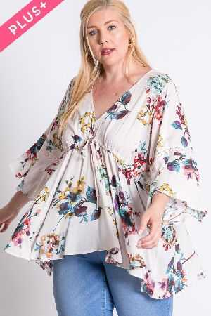 VINTAGE FLORAL DRAPED V-NECK BLOUSE TOP