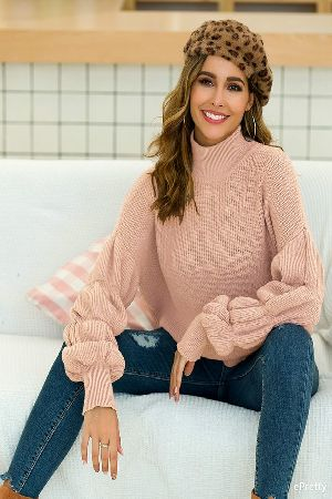 Knit Puff Sleeve Mock Neck Sweater