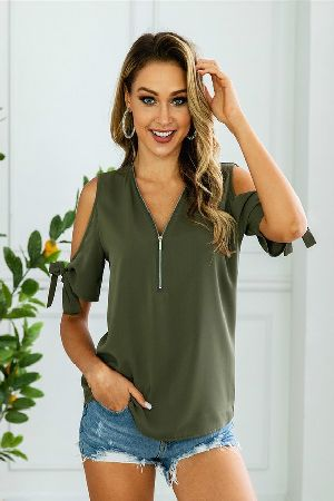 Zipped up cold shoulder top