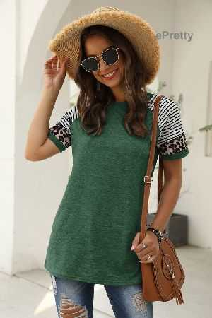 Animal and print sleeves soild color tee