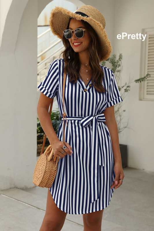 Stripe short dress self tie