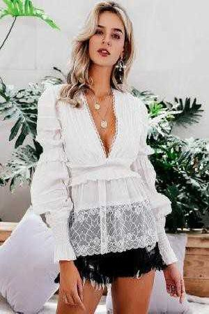 Frill Trim Shirred Blouse