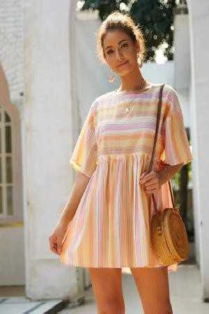 Stripe Smocked Dress
