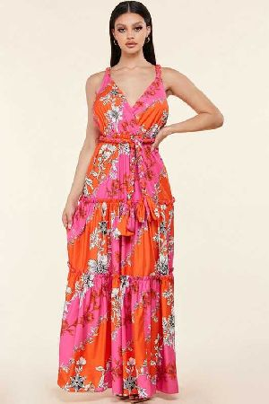 Floral V Neck Ruffled Tiered Maxi Dress