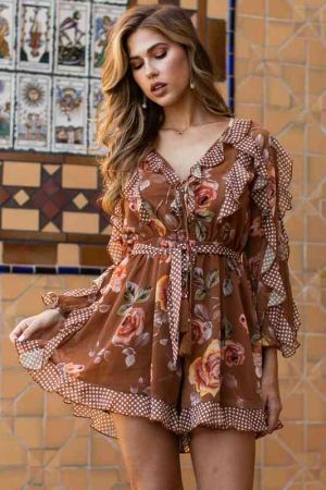 Chic floral print brown romper