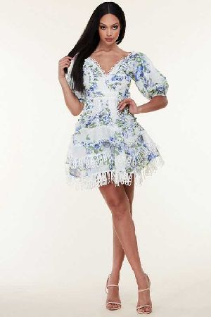 Intricately detailed floral print mini dress