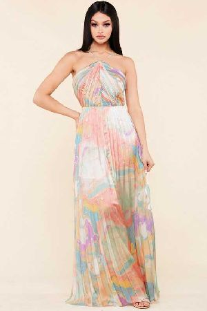 Pastel Water Color print Satin maxi Dress