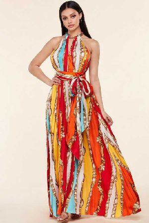 Pleated Colorblock and Chain Print maxi Dress
