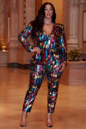 Plus Size metallic sequined abstract pattern pantsuit
