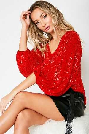 Balloon Sleeve Sequin Sweater