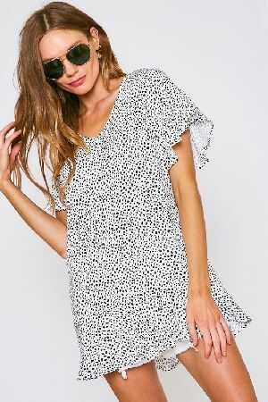 Irregular Dot V Neck Tunic Top