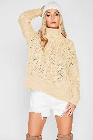 Perforated Turtle Neck Chunky Knit Sweater