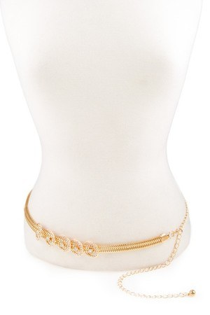 Rhinestone encrusted metal ring accent chain belt