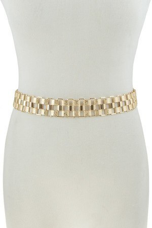 Textured square metal chain belt