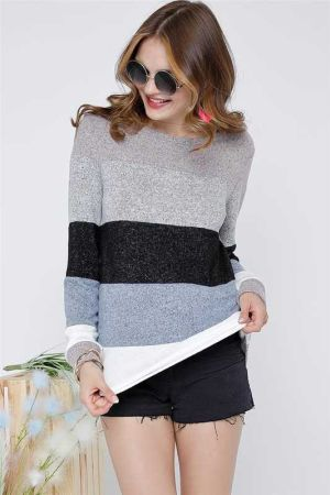 Mock Neck Color Block Long Sleeve Sweater