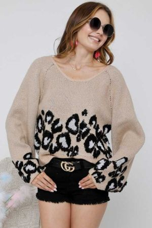 Leopard printed boat neck long Sweater