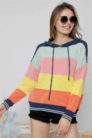 MULTI COLORS COMFY HOODIE SWEATER