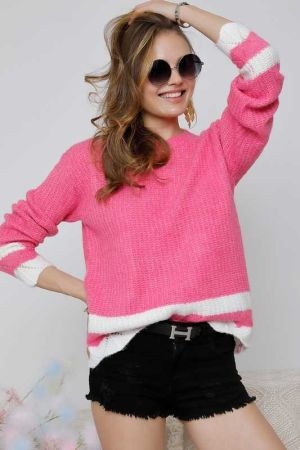 ROUND NECK LONG SLEEVE MULTI COLOR SWEATER