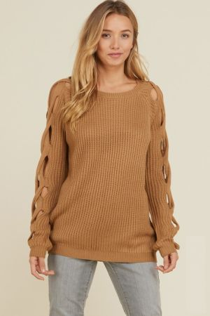 e0056bcfb45 Cut out twist long sleeve sweater. Tap to expand