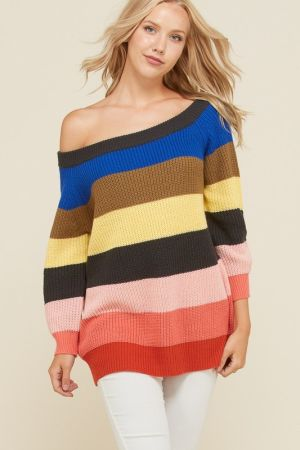 3377b04e17c56 Off shoulder stripe sweater tunic top - Marsha sClothing