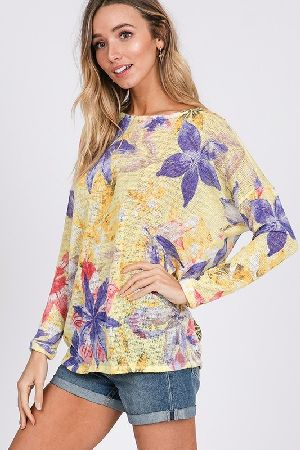 Twist open back floral knit tunic top