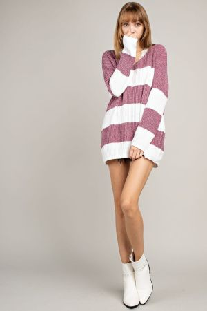 V neck stripe knit long sweater