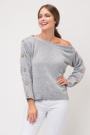 Button down sleeve cropped knit sweater