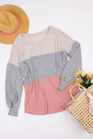 Color clocked waffle knit tunic top
