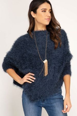 Dolman sleeve fuzzy sweater top