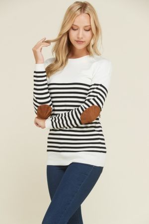 Elbow patched stripe sweater